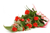 Fotografie bouquet of fresh red roses on white with space for copy in the side
