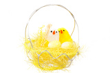 Fotografie yellow easter decoration with birds on white background