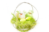 Fotografie green easter decoration with birds on white background