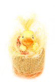 yellow easter decoration with small duck on white background