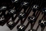 detail of black keys on retro typewritter