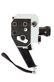 old 8mm movie camera on white background