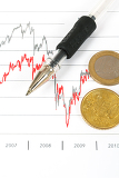 Photo stock market graphs with black pen and euro coins