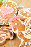 close up of easter gingerbreads on wooden background