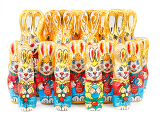 Photo group of many color easter chocolate rabbits bunny on white background