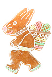easter bunny gingerbread on white isolated