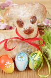 easter lamb with painted eggs and easter decorations
