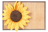 Fotografie sunflower decoration on wooden table setting background