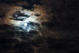 night shoot of moon on cloudy sky