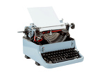 retro uncovered blue typewriter on white background