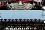 Fotografie retro typewriter close up with number keys and letters mechanism