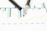 Fotografia business stock market graphs with black pen