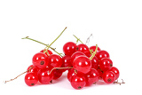 pile berries of red currant in closeup isolated on white background