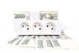 power cord and banknotes of czech crowns money concept of expensive energy bill