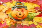 halloween pumpkin lantern with yellow and red autumn leaves