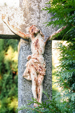 crucifixion jesus christ on the cross trees growing around cross