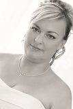 Photo portrait of beautiful smiling bride black and white tone