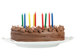 Fotografie homemade birthday chocolate cake isolated on white