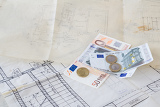 architectural plans on old paper and euro money