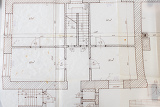 Photo architectural plans on the old tracing paper