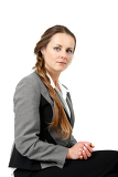 sitting middle age business woman isolated background