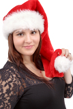 beautiful smiling pregnant santa woman isolated on white background