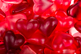 Fotografia brightly coloured red gums hearts as valentine present