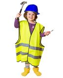 Photo Little smiling plumber in a reflective vest and helmet with hammer and adjustable wrench
