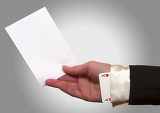 Fotografie Woman hand holding a white paper with ace up the sleeve