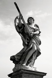 Fotografie City. Art, Baroque sculpture, angel and bridge. Rome - Italy.