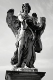 City. Art, Baroque sculpture, angel and bridge. Rome - Italy.