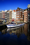City. Harbour, sea, gracht, house, waterfront, water and loď.Amsterdam - Netherlands.