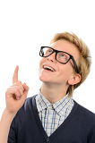 Cheerful boy wearing geek glasses having idea