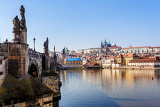 view of the cathedral of st vitus the vltava river prague czech republic