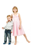 Fotografie studio portrait of siblings beautiful boy and girl on white background