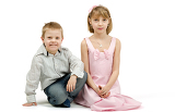 Fényképek studio portrait of siblings beautiful boy and girl on white background