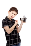 young boy with old vintage analog slr camera what is it