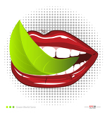Fotografia mouth with leavef vegetarian food illustration for creative design
