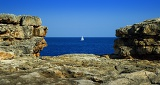 Summer, Sea, Bay, rocks and yacht. The island of Mallorca.