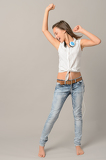 Fotografie Teenage girl dancing singing enjoy music