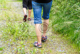Fotografie woman walking with son cross country and trail in summer forest rear view