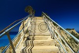 Summer and sea. Island, stairs, rock and sky. Greece - Lefkada.