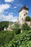view of the castle karlstejn czech republic built by holy roman emperor charles iv in the 14th century