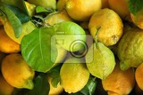 Photo a few lemons in a wooden crate for sale