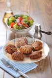 cruel meatball with spring salad