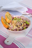 red chicory salad with tuna