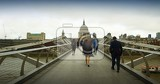 City. Bridge, people and the river Thames. London - England.