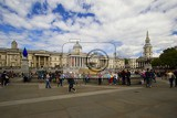 City. Trafalgar Square and the National Gallery of people. London - England.