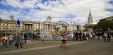 Photo City. Trafalgar Square and the National Gallery of people. London - England.