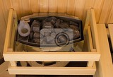 Photo lava stones on the sauna stove